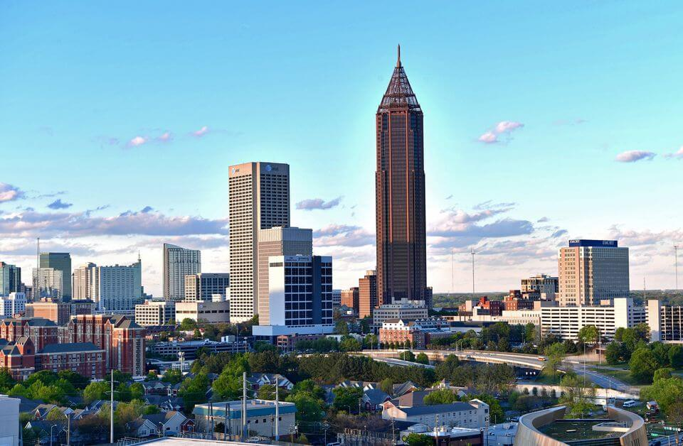 A photo of the downtown Atlanta skyline in Atlanta, GA.