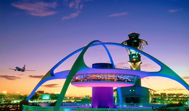 A photo of the Theme Building at the Los Angeles International Airport (LAX) in Los Angeles, CA.