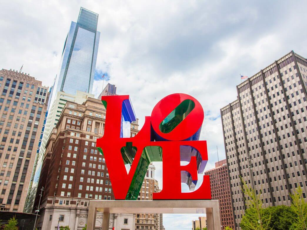 A photo of the LOVE Sculpture in Philadelphia, PA.