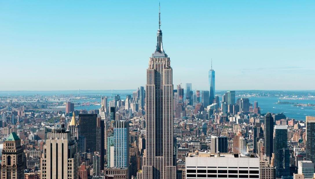 A photo of the New York City skyline featuring the Empire State Building in New York, NY.