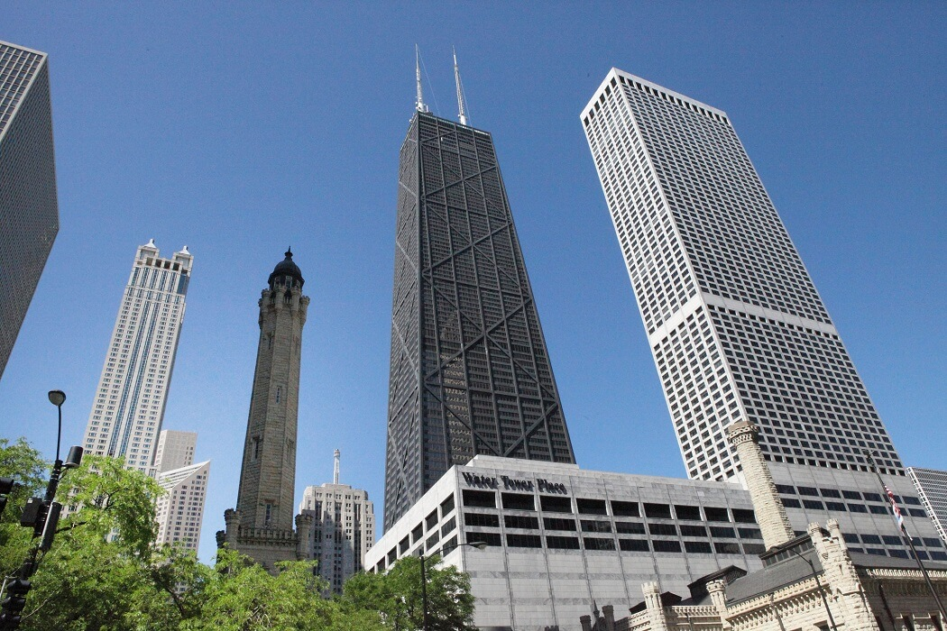 A photo of the Sears Tower and other downtown sky scrapers in Chicago, IL.