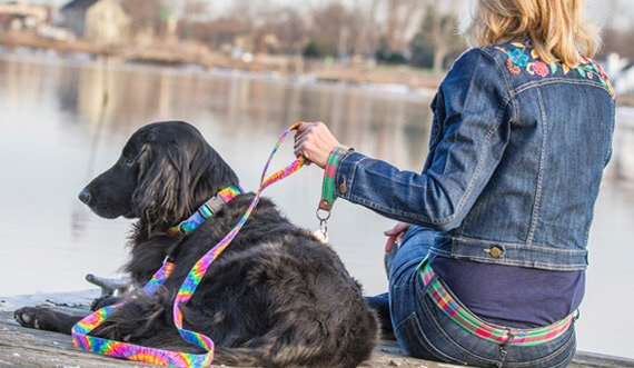 A photo of a woman and a dog looking out at a lake. The leash and dog collar match the woman's belt.